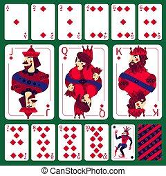 póker, diamante, conjunto, traje, tarjetas, juego