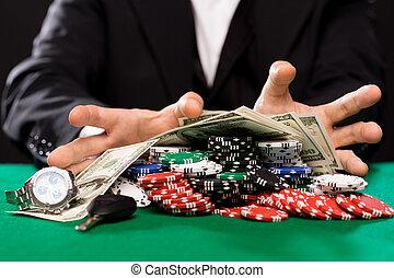 póker, dinero, casino, jugador, tabla, pedacitos