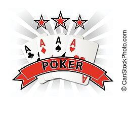 póker, diseño, tarjeta, ilustración