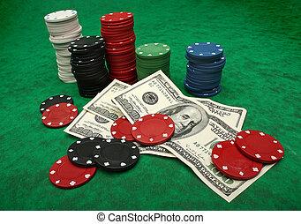 póker, fieltro, encima, dólar, yo,  Ve, verde, juego, imágenes, obtenido, cuentas, pedacitos, más