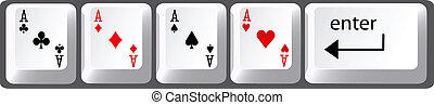 póker, llaves, mano, cuatro, ordenador teclado, ases