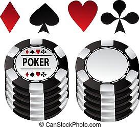 póker, mostrador, juego negro