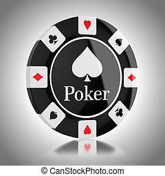 póker, negro, astilla