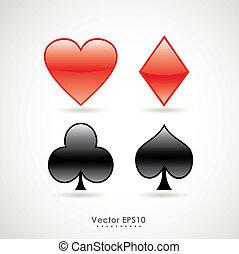 póker, señal, símbolos, vector, naipe