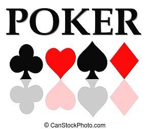 póker, tarjeta, símbolos