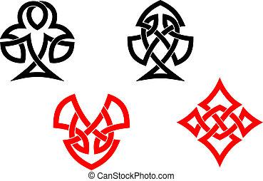 póker, tarjeta, símbolos, en, estilo céltico