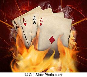 póker, tarjetas, quemadura, en, el, fuego