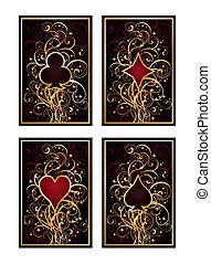 póker, vector, conjunto, tarjetas