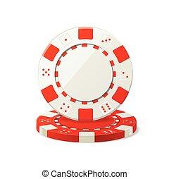 póker, vector, juego, blanco, pedacitos, rojo