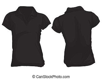 póló, black ing, sablon, women's