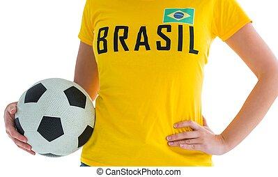 póló, brasil, labdarúgás, meglehetősen, rajongó