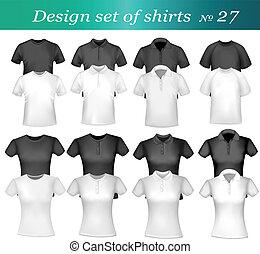 póló, fehér, férfiak, fekete, ing
