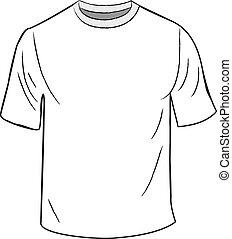 póló, fehér, tervezés, sablon