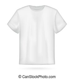 póló, fehér, vektor, bábu, mockup.