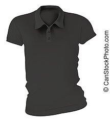 póló, fekete, ing, sablon, nők