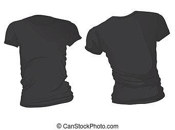 póló, fekete, sablon, women's
