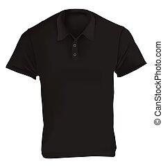 póló, fekete, tervezés, ing, sablon