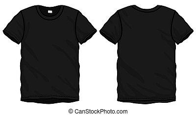 póló, fekete, tervezés, sablon