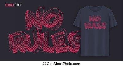 póló, grafikus, nem, text., rules., stilizált, nyomdászat, nyomtat, tervezés