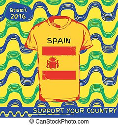 póló, motívum, ország, vektor, flag.