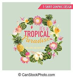 póló, nyomtatványok, grafikus, mód, -, tropikus, vektor, tervezés, menstruáció