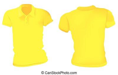 póló, sárga, ing, sablon, nők