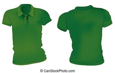 póló, zöld, ing, sablon, nők