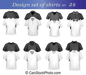 pólo, branca, homens, pretas, camisas