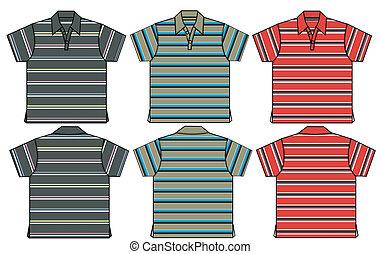 pólo, menino, camisas, listra, padrão