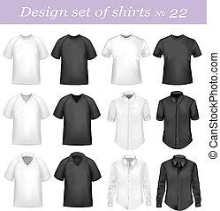 pólo, pretas, branca, homens, camisas