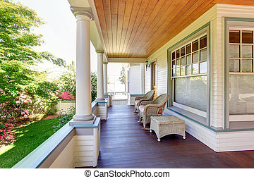 pórche de entrada, artesano, sillas, home., columnas