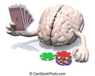 pôquer, braços, sido, cérebro,  human, pernas, tocando