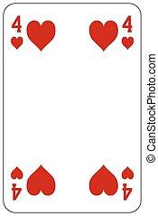 pôquer, cartão jogando, 4, coração
