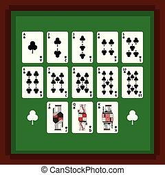 pôquer, jogo, clube, terno verde, cartões, tabela, tocando
