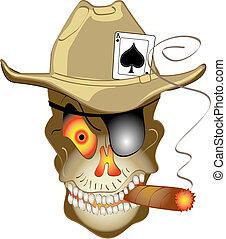 pôquer, jogo, las vegas, cranio