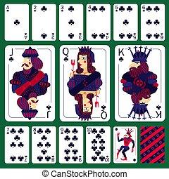 pôquer, jogo, terno clube, cartões, tocando