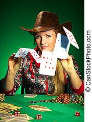 pôquer, jogos, menina, barba