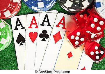 pôquer lasca, cartões, e, dices