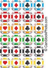 pôquer lasca, coloridos, conjuntos