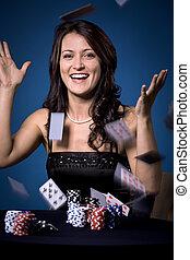 pôquer, menina