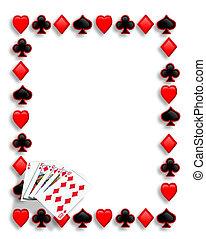 pôquer, rubor real, cartões, borda, tocando
