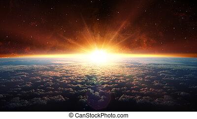 pôr do sol, órbita