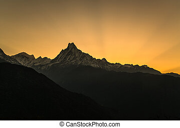 pôr do sol, (6993m), fishtail, machapuchare, /