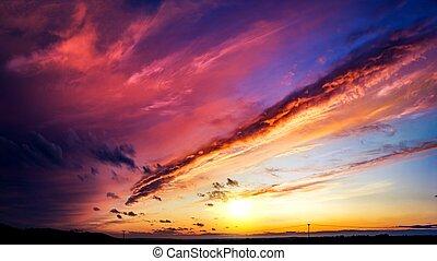 pôr do sol, abstratos, explosão, céu, grande
