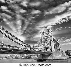 pôr do sol, acima, famosos, ponte torre, -, londres