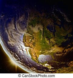pôr do sol, américa, norte, acima, espaço