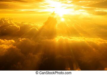 pôr do sol, /, amanhecer, com, nuvens, raios claros,...