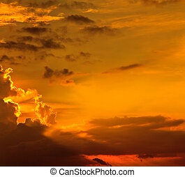 pôr do sol, /, amanhecer, com, nuvens, raios claros, e,...