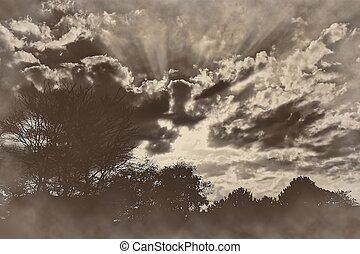 pôr do sol, amanhecer, raios luz, sepia