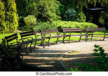 pôr do sol, banco parque